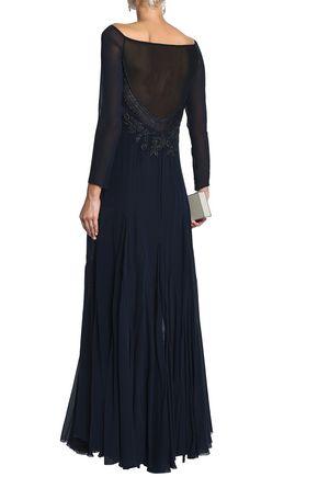 ROBERTO CAVALLI Embellished silk-blend georgette gown