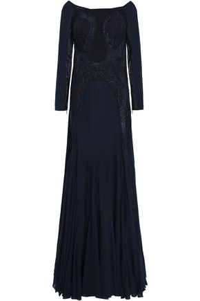 ROBERTO CAVALLI Embellished silk-blend georgette gown
