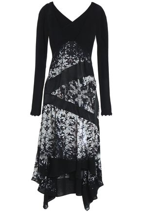 ROBERTO CAVALLI Cutout paneled silk-voile and crepe dress 63cc96fe0