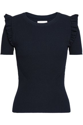 CINQ À SEPT Ruffle-trimmed ribbed-knit top