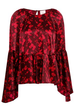 CINQ À SEPT Avalon fluted floral-print silk-satin blouse