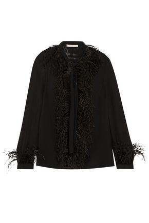 CHRISTOPHER KANE Feather-embellished pussy-bow silk-georgette shirt