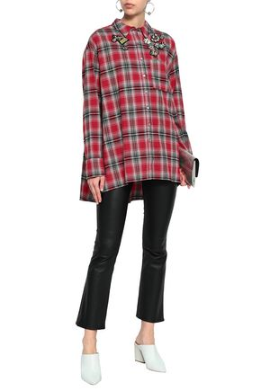 CINQ À SEPT Appliquéd checked cotton-flannel tunic