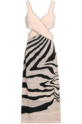 251a80fb4a ROBERTO CAVALLI Wrap-effect pointelle and stretch-knit dress