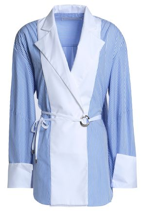 MICHAEL LO SORDO Striped cotton-panel shirt