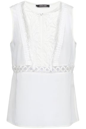 ROBERTO CAVALLI Embroidered tulle-paneled silk crepe de chine top