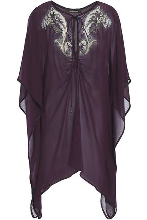 ROBERTO CAVALLI Embellished silk-georgette top