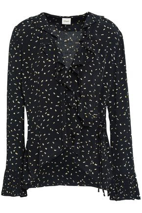 CHARLI Gabriella lace-up printed crepe blouse