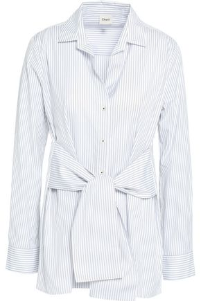 CHARLI Sabine striped tie-front cotton-poplin shirt