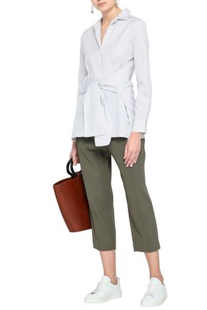 CHARLI Sabine striped tie-front cotton-poplin shirt