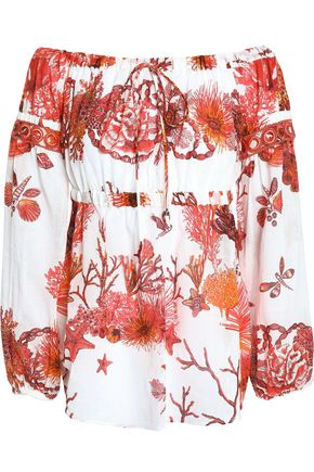 ROBERTO CAVALLI Off-the-shoulder printed cotton and linen-blend top