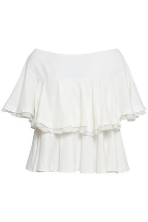 ROBERTO CAVALLI Tiered stretch-crepe top