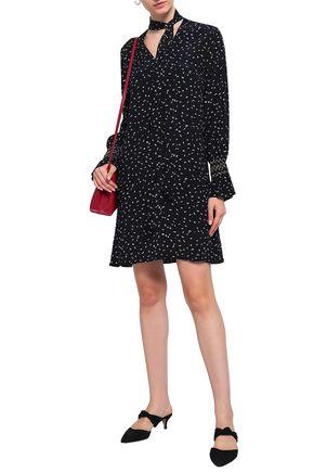 CHARLI Genevieve pussy-bow printed crepe mini dress