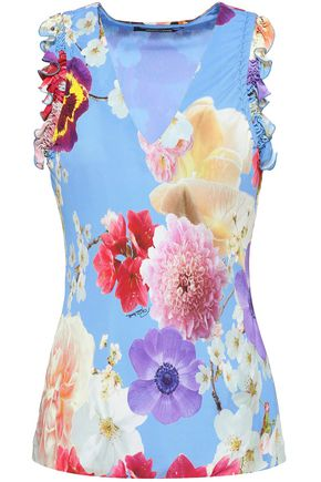 ROBERTO CAVALLI Floral-print stretch-crepe top