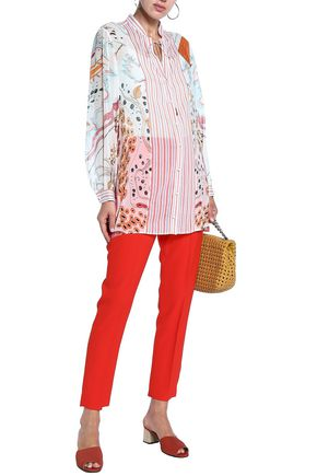 ROBERTO CAVALLI Paneled printed silk-georgette and cotton tunic