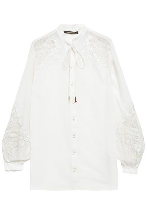 ROBERTO CAVALLI Embroidered tulle and mousseline-paneled blouse