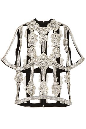CHRISTOPHER KANE Cutout embellished crepe top