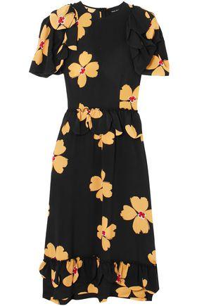 SIMONE ROCHA Ruffle-trimmed floral-print silk crepe de chine midi dress