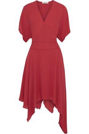 HALSTON HERITAGE Wrap-effect asymmetric crepe de chine dress