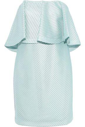HALSTON HERITAGE Strapless ruffled embroidered mesh mini dress