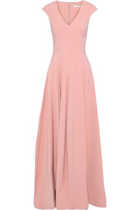 HALSTON HERITAGE Pleated faille gown