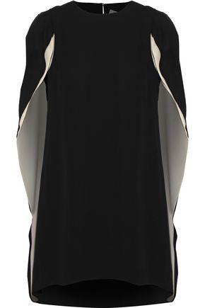 HALSTON HERITAGE Cape-back crepe de chine mini dress
