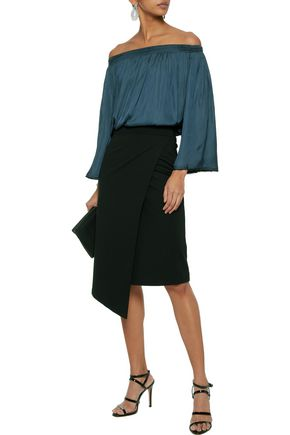 HALSTON HERITAGE Off-the-shoulder shirred charmeuse top