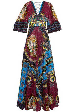 ETRO Ruffled silk-jacquard and printed crepe de chine maxi dress