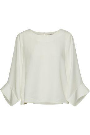 HALSTON HERITAGE Chiffon-trimmed crepe de chine blouse