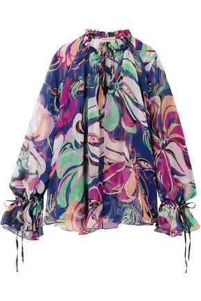 EMILIO PUCCI Gathered printed silk-georgette blouse