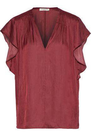 HALSTON HERITAGE Shirred charmeuse blouse