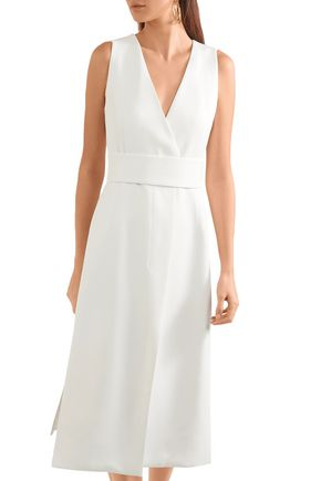 NARCISO RODRIGUEZ Wrap-effect belted twill dress