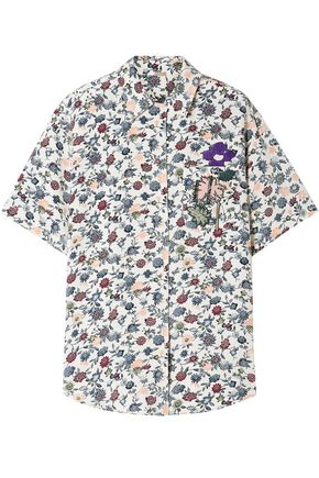 ADAM LIPPES Appliquéd floral-print silk-crepe shirt
