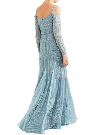 ZUHAIR MURAD Cold-shoulder embellished silk-bend lace gown