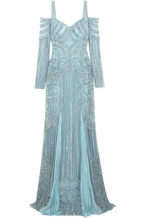 ZUHAIR MURAD Cold-shoulder embellished silk-bend lace gown