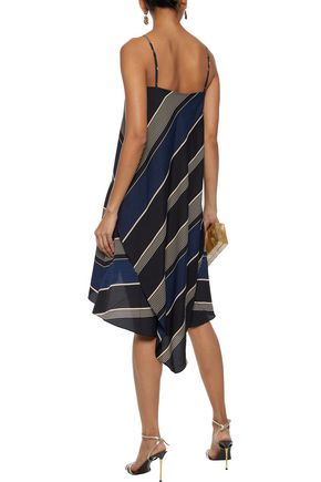 HALSTON HERITAGE Layered striped crepe mini dress