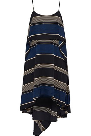 HALSTON HERITAGE Layered striped crepe mini dress