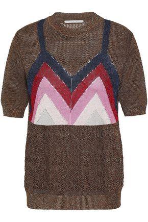 MARCO DE VINCENZO Metallic intarsia-knit top