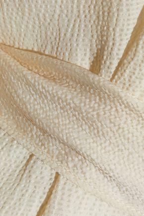 HALSTON HERITAGE Cold-shoulder belted seersucker gown