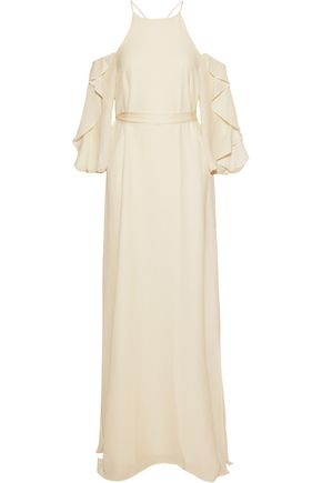HALSTON HERITAGE Cold-shoulder ruffled seersucker gown