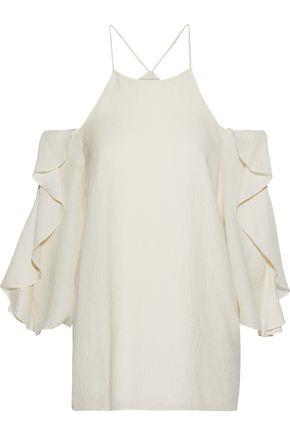 HALSTON HERITAGE Cold-shoulder ruffled striped seersucker blouse