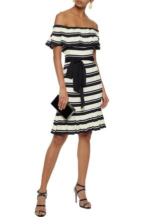 HALSTON HERITAGE Off-the-shoulder pleated striped crepe dress