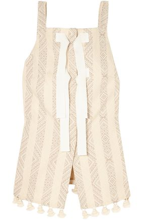 ALTUZARRA Archie tasseled cotton-blend jacquard top