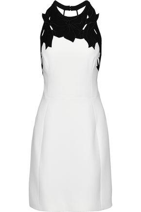 HALSTON HERITAGE Open-back broderie anglaise-paneled cady mini dress