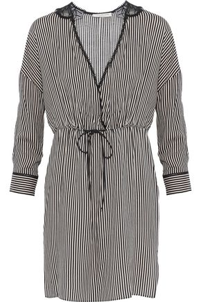 HALSTON HERITAGE Embroidered chiffon-paneled striped poplin mini dress