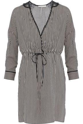 HALSTON HERITAGE Embroidered chiffon-paneled striped poplin mini dress