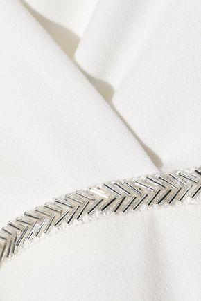 HALSTON HERITAGE Wrap-effect bead-embellished cady halterneck dress