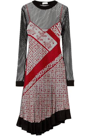 ALTUZARRA Kleber layered net and printed silk dress