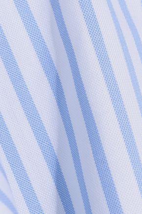 CAROLINE CONSTAS Artemis off-the-shoulder bow-embellished striped cotton top