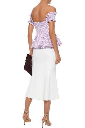 CAROLINE CONSTAS Artemis off-the-shoulder bow-embellished striped cotton top